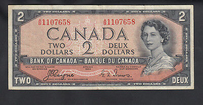 1954 Canada 2 Dollars Bank Note Devil Face Coyne / Towers