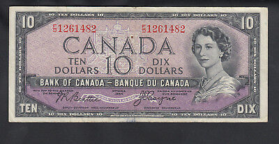 1954 Canada 10 Dollars Devil Face Bank Note Beattie / Coyne