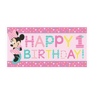 MINNIE MOUSE Fun To Be One JUMBO PLASTIC BANNER First Party Supplies 1st Room