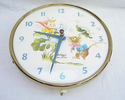 Vintage Nursery Wall Clock Pedigree By Westclox Mouse Pixie Design