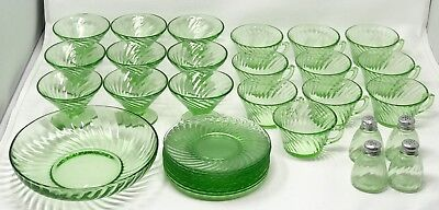 Lot 33 Jeannette Federal Green Swirl Vaseline Glass Cup Saucer Sherbet Bowl SCP