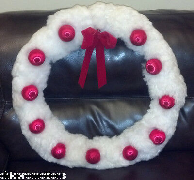"VTG Christmas White Wreath Red Ornaments Large 24"" Hand Made Macrame FREE SHIP"