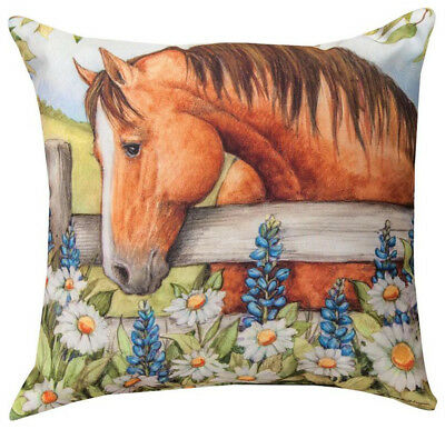 """Horse In The Garden With Bluebonnets Indoor Outdoor Pillow - 18"""" Square"""