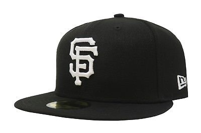 new style e6f1a fe2a5 New Era 59Fifty Cap MLB San Francisco Giants Mens 5950 Black White Fitted  Hat