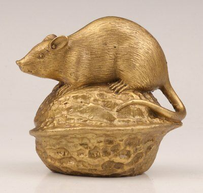 Figurine Brass Casting Mouse Walnut Good Luck Statue Gift Decoration
