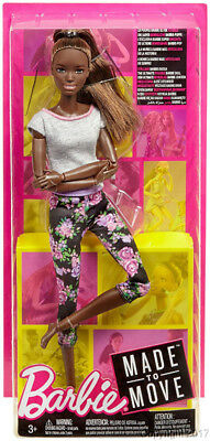 2018 MADE TO MOVE Poseable African American Barbie Gray Top Floral Leggings NEW