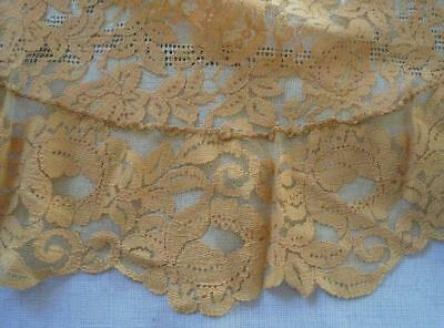 """Antique Golden Yellow Alencon Style Lace Tablecloth Oval 84"""""""