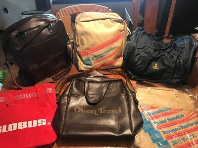 Lot of 6 Vintage Airline Large Bags Olson leather Singapore expandable Duffel ++