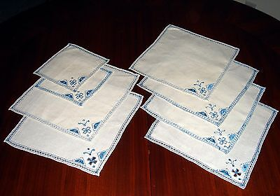 "SET OF 8~Vtg Embroidered NAPKINS~BLUE on OFF-WHITE~SIX 9.5"" Square TWO 6"" Sq."