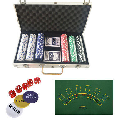 Poker Chip Set 300 Dice Chips Texas Hold'em Cards with Aluminum Case