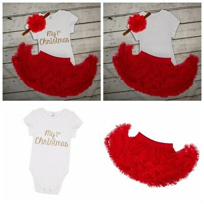My 1st First Christmas Infant Baby Girl Santa Romper Xmas Tutu Dress Outfit Set