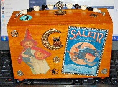 RAGS 2 WITCHES Wood Box Purse THAT'S JUST CRAZY! Handbag OOAK USA Wicca Ouija