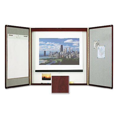 Quartet Marker Board Cabinet with Projection Screen 48 x 48 x 24 White/Mahogany