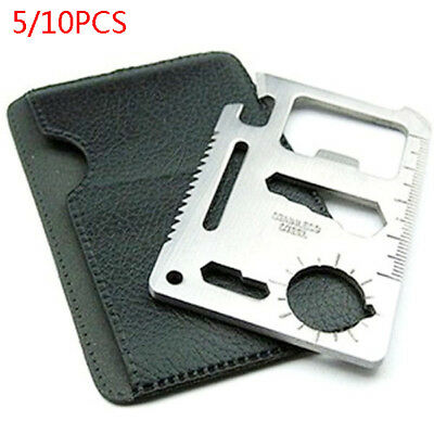 5/10PCS Multifunction Mini Emergency Survival Credit Card Tool Camping 11 in 1