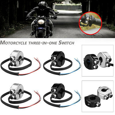 Motorcycle Handle 3-Button Handlebar Switch Grips Reset Self Latch DC12V Alloy