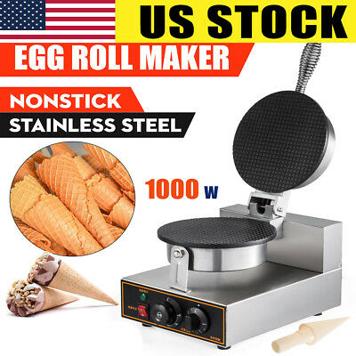 110V Electric Ice Cream Waffle Cone Egg Roll Maker Nonstick Commercial Egg Roll