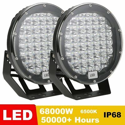 Pair 9inch 68000W LED Driving Light Spotlights Black Round OffRoad 4X4 SUV
