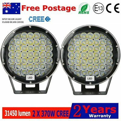 Pair 9inch 370w LED Driving Lights Black Round Spotlight flood BAR Offroad!
