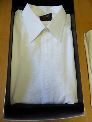"""Unused in Box Vintage Rocola Dress Evening Shirt 17"""" Embroidered Double Cuff"""