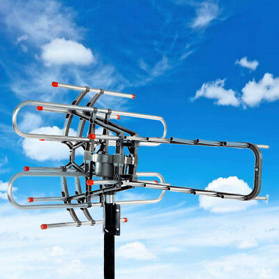 HDTV 1080P Outdoor Amplified Antenna 150 Miles HD TV Rotor Remote 360°UHF/VHF