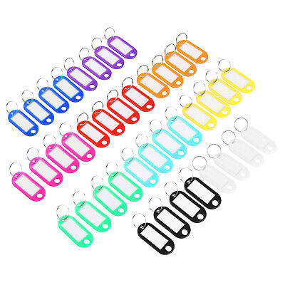 Key Tags (40 pack) Plastic Label w/ Key Ring, Blank Paper Card, Assorted Colors