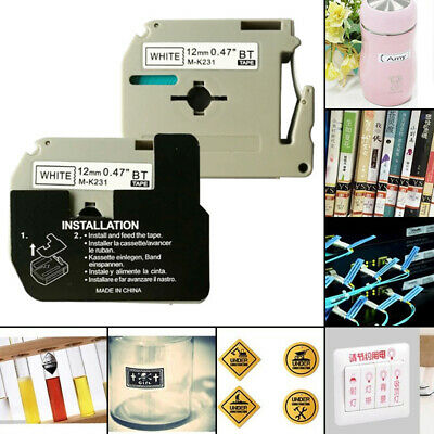 0.47'' M-K231 Label Tape Cassette Compatible Fit For Brother P-touch PT65 12mm