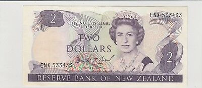 1989 $2 ,2 Dollars New Zealand Reserve Bank Note D T Brash Crisp Circulated 433