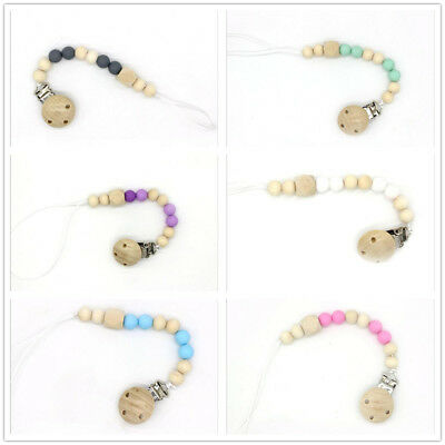 DIY 1pcs Wooden Baby pacifier Clips Silicone Beaded Soother Baby pacifier chain