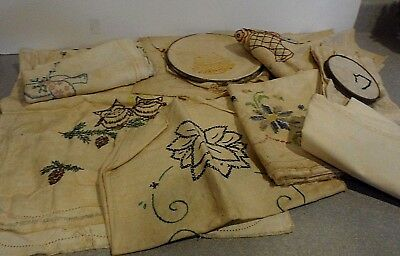 vintage linens embroidery pillowcase napkins lot old dresser scarf cross stitch