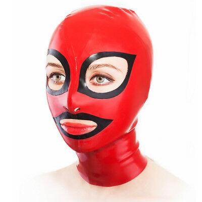 Latex Hood Open Unique Eyes and Mouth Rubber Mask for Catsuit Club Wear Costume