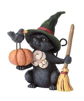 Jim Shore Halloween Mini Witch Cat with Pumpkin 6001551 BRAND NEW 2018 Free Ship