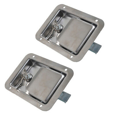 2 x Stainless Door Lock Trailer Toolbox RV Handle Latch & Key 14x10.8x3.8 cm