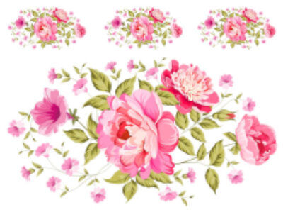 Shabby Pink Peony Floral Bouquet Swag Transfers Decoupage Waterslide Decal FL531