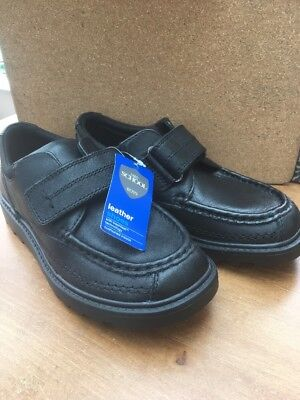 New Marks & Spencer Boys Leather  Black Velcro  School  Shoes Size 1  £28