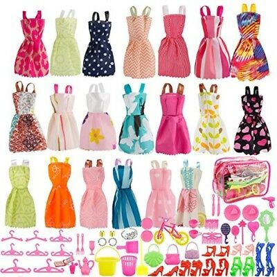 80 Pcs Barbie Doll Clothes Accessories Huge Lot Party Gown Outfits Girl Gift NEW