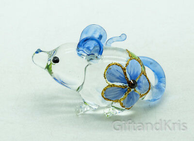 Figurine Animal Hand Blown Glass Blue Flower Rat Mouse Mice - GPRA016