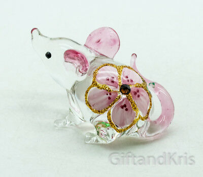 Figurine Animal Hand Blown Glass Pink Flower Rat Mouse Mice - GPRA017