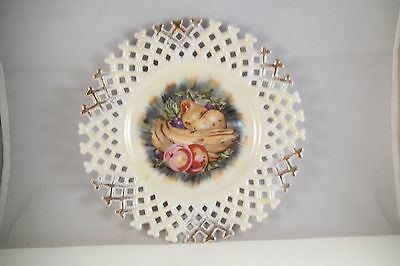 Vintage Napco Japan Reticulated Lace Edge Decorative Plate Fruit Banana Apples