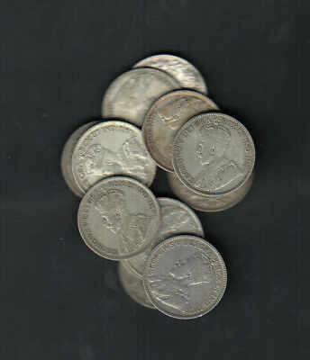 1911-36 Canada 25 Cents Silver Coins Lot Of 12
