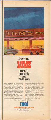 1967 Vintage ad for Lums restaurant`retro art cars red  food (071018)