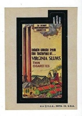 1974 Topps Wacky Packages 6th Series 6 VIRGINIA SLUMS THIN CIGARETTES ex+/nm-