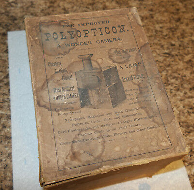 1880s Polyopticon WONDER wood CAMERA w/ original box