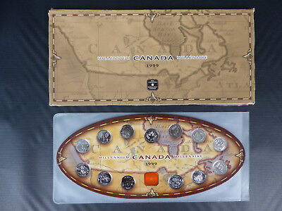 1999 Canada Millenium 25 Cents Coin Set With 2 Mules
