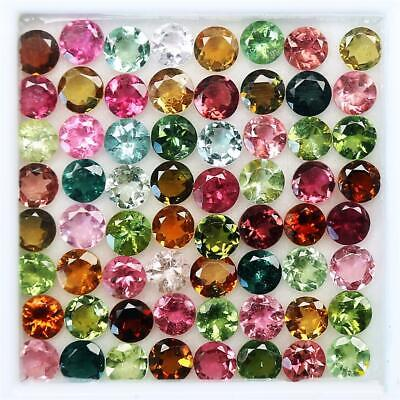 Wholesale Lot 2mm to 2.8mm Round Faceted Multi Tourmaline Loose Calibrated Gems
