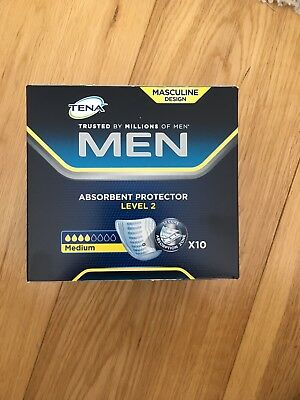 TENA for Men Absorbent Protector Pads- Level 2 Medium - Pack of 10