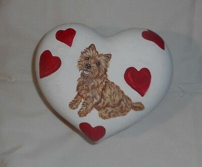 Wheaten Cairn Terrier Dog Hand Painted Ceramic Jewelry Trinket Collectible Box