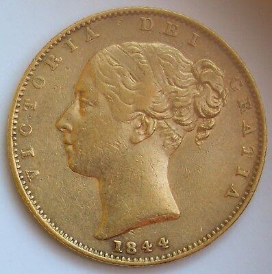 DETAILED 1844 Young Head Queen Victoria Gold Shield Sovereign - NORMAL 44