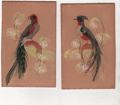 vintage 2 MEXICO handmade Folk Art post cards Birds with Feather & frocked