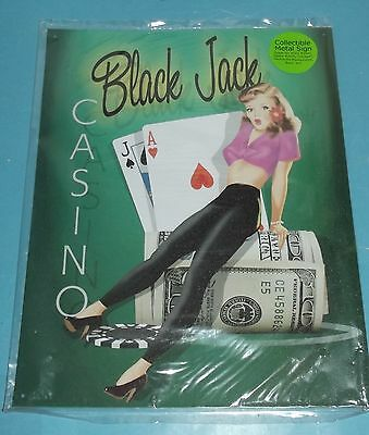 "Black Jack Casino Pinup Girl Metal Wall Sign Retro Style 12""x15"" Game room Art"