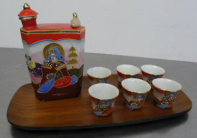vintage Japanese Satsuma Sake Set with Lithophane 7teilg. mit Gesha Motive